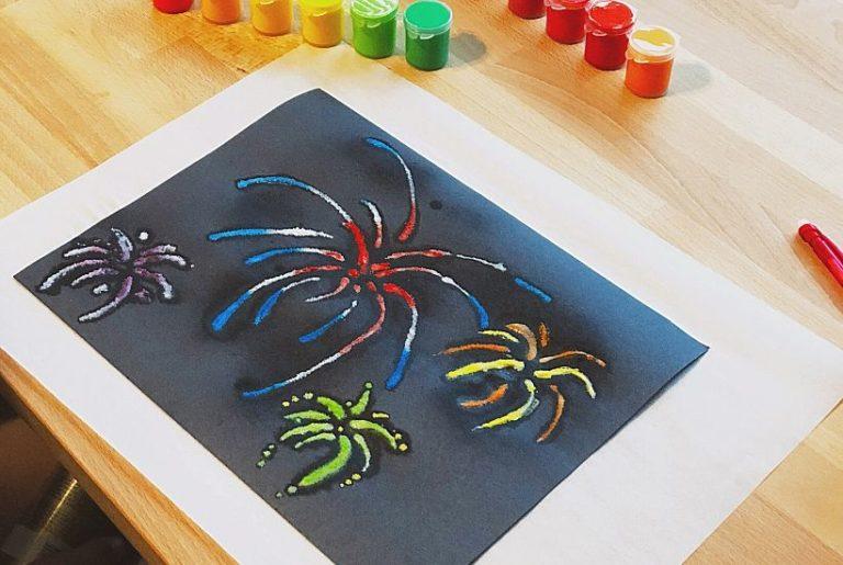 Fireworks Raised Salt Painting