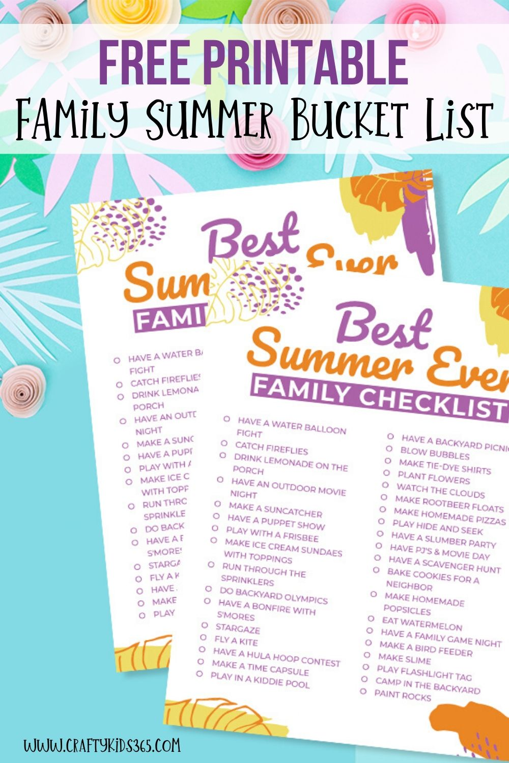 Ready to kick off the summer? Download this free Fun Printable Family Summer Bucket List. These Summer family activities are great for the entire family. Keep kids busy! Fun Printable Family Summer Bucket List. Includes nature ideas, arts and crafts, excursions and more! Free Printable included.