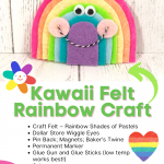 Create beautiful Kawaii Inspired Rainbows with felt while teaching young children to count and cut with ease. These rainbows are fun and straightforward to make, leaving you with lots of colorful cuteness to hang around your home or office.