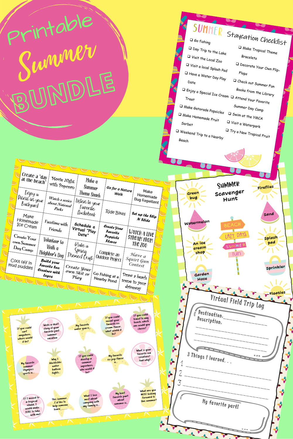 Keep your children busy this summer with this convenient free Summer Printable Bundle. The bundle consists of both fun and educational activities for children to complete by themselves and with your help.